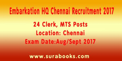 Embarkation HQ Chennai Recruitment 2017 24 Clerk, MTS Posts