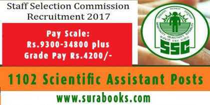 SSC Recruitment 2017 1102 Scientific Assistant Posts
