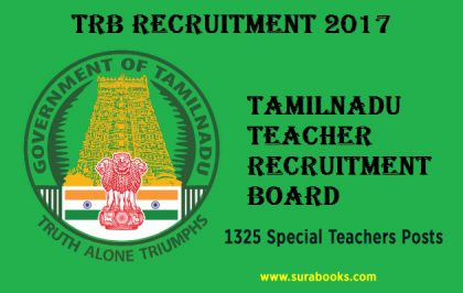 TRB Recruitment 2017 1325 Special Teachers Posts