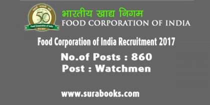 Food Corporation of India – Punjab Recruitment 2017 860 Watchman Posts