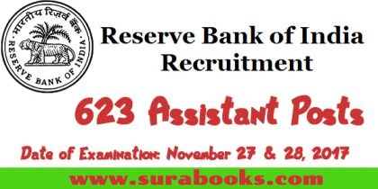 RBI Recruitment 2017 623 Assistant Posts