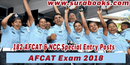 AFCAT Exam 2018 182 AFCAT & NCC Special Entry Posts